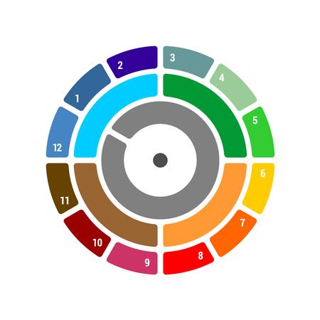 Graphique annuel avec trimestre et mois. Blocs de saison avec différence de couleur. Pour infographies, rapports annuels et autres. Vecteurs
