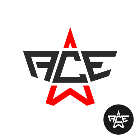 e business: Ace letters logo. Word ACE with star linear silhouette. Leadership and success symbol.