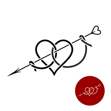 Heart with arrow tattoo style linear logo. Love elegant symbol. Amour theme sign.
