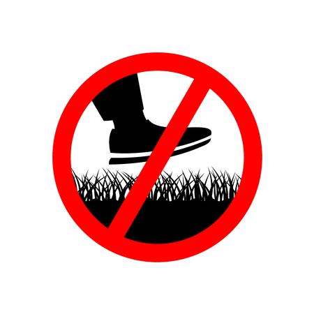 Sin pasos en el letrero de prohibición de césped. Mantener fuera del símbolo de hierba.