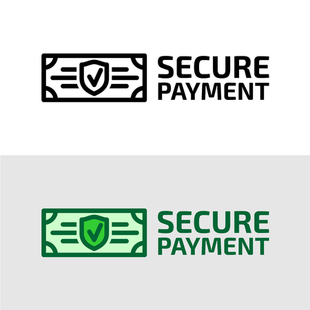 Secure payment icon. Dollar bill with security shield and check symbols. Illustration