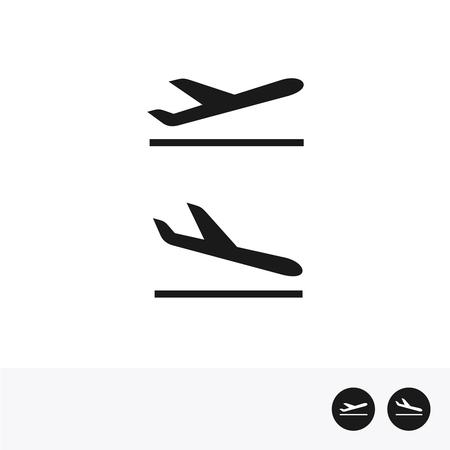 Aankomsten en vertrek vliegtuig pictogrammen.