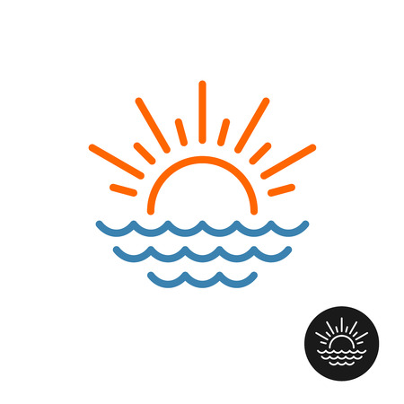 Sun and sea logo. Line style rising sun with rays and sea waves icon.