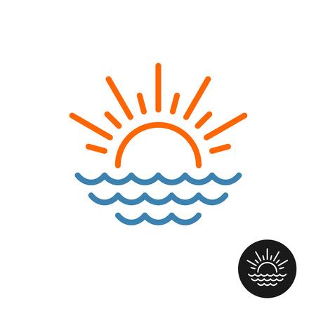 Zon- en zee-logo. Lijn stijgende stijl zon met stralen en zee golven pictogram.