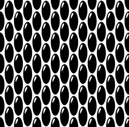 Black on white oval eggs or seeds seamless pattern background. Rough bumped surface. Illustration