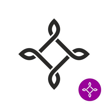 Bowen knot elegant frame. Square linear with leaves. Black outline style rhombus tattoo sign. Ilustração