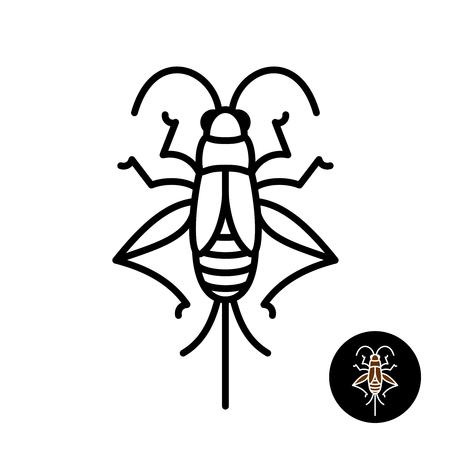 クリケットの昆虫が様式化されました。Grashopper 相対的なバグの直線的なスタイルのアイコン。黒色のストローク トップ ビュー デザイン。
