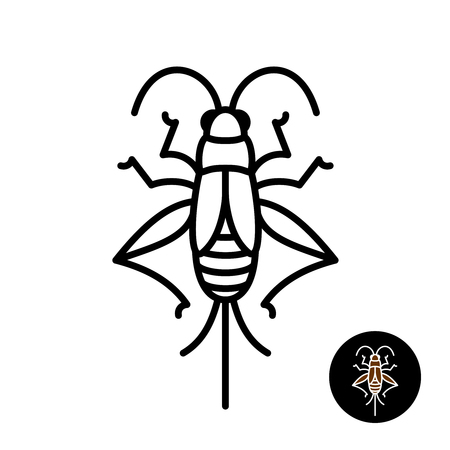 Cricket insect stylized. Grashopper relative bug linear style icon. Black stroke top view design. Vettoriali