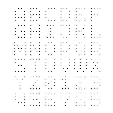 Gepunktete Schrift. Buchstaben mit kleinen Punkten. Vorlage für Bohrungen oder LED-Leuchten.