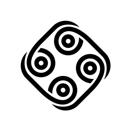 抽象部族スタイルブラック。円記号で正方形を丸くした入れ墨。