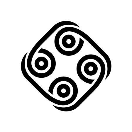 Abstract tribal style black. Tattoo rounded square with circles sign.