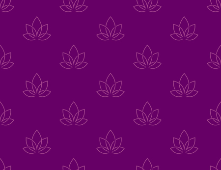 Repeated lotus flower in linear elegant style.