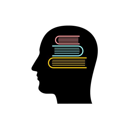 Sylwetka głowy ze stosem książek wewnątrz. Magazyn wiedzy w symbolu pamięci. Nauka znak pojęciowy. Mózg słownika. Ilustracje wektorowe