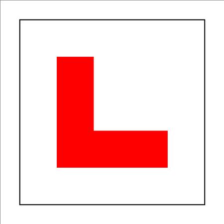 学習者ドライバーのプレート看板。車運転学校の初心者のための記号です。正方形の白い背景のステッカー赤文字 L。