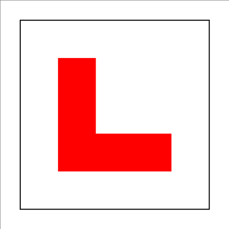 Learner driver plate sign. Car driving school beginner symbol. Red letter L on square white background sticker.