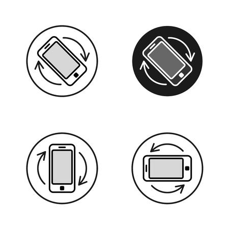Phone rotate symbols set. Smartphone rotation icon Vektorové ilustrace