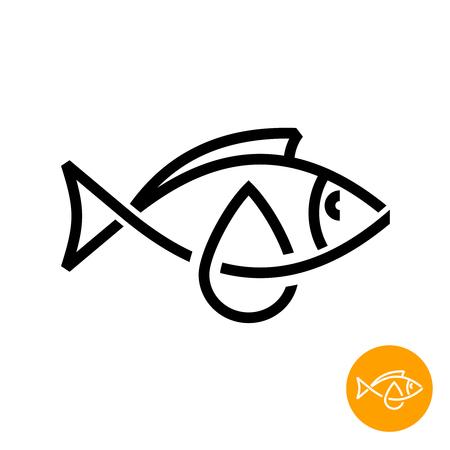 Fish oil icon. Black line style cod liver oil sign. Fat oil drop with fish silhouette logo. Illustration