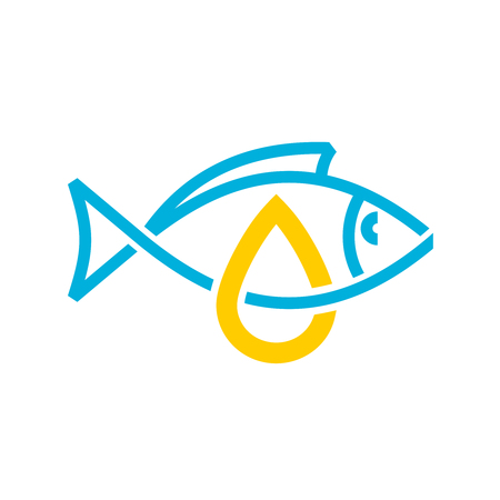 Fish oil icon. Line style cod liver oil sign. Fat oil drop with fish silhouette color logo. Illustration