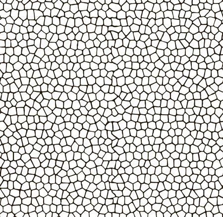 Mosaic seamless pattern background. White tiles with black gaps texture. Vettoriali