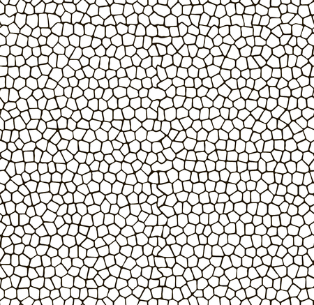 Mosaic seamless pattern background. White tiles with black gaps texture. Illustration