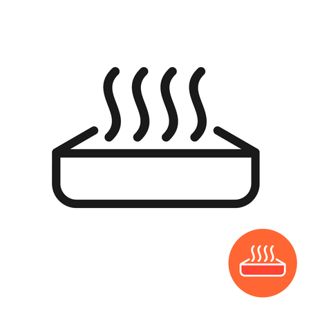 Warm up food icon. Heating symbol with meal container and heat waves. Preheat in microwave oven sign.