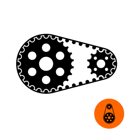 Two gears with timing belt illustration. Sprocket wheel with chain. Engine parts.