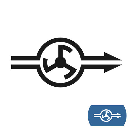 Water pump icon with flow direction arrows.