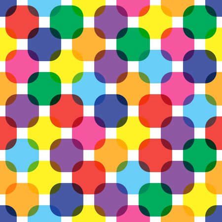 Color rounded squares seamless pattern.