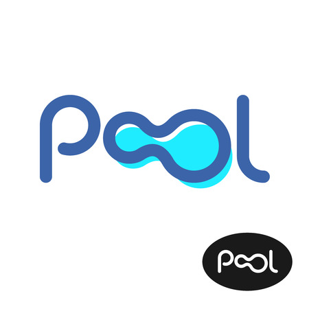 Pool word logo. Pool letters sign. Illustration