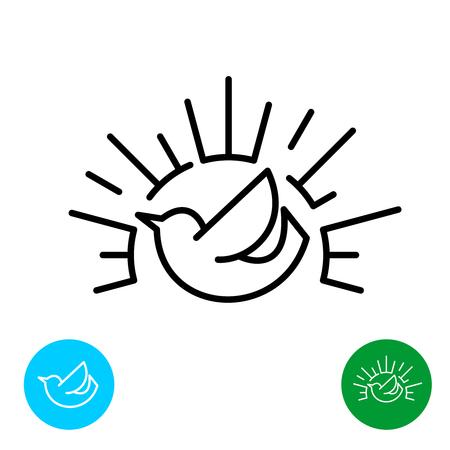 Early bird line style logo. Bird silhouette with sun rays linear sign. Vettoriali