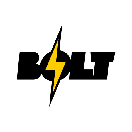 Lightning bolt symbol with text. Word BOLT logo with thunder sign.