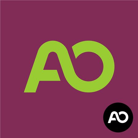 Letters AO monogram. Two connected letters A and O logo. Ilustração
