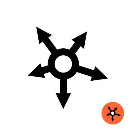 Arrows outward from circle. Propagation symbol. Expanding icon. Radial directions. Illustration