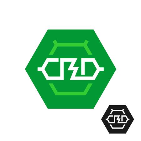 CBD molecule logo. Tech symbol of cannabidiol. CBD oil icon in a hex shape. Cannabis theme chemical symbol.