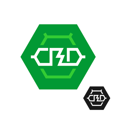 CBD molecule logo. Tech symbol of cannabidiol. CBD oil icon in a hex shape. Cannabis theme chemical symbol.