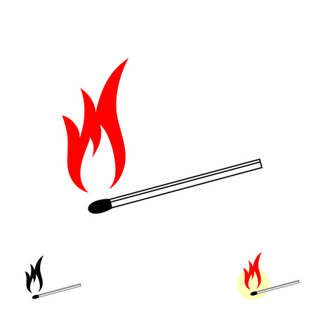 Match with fire. Burning match stick with red fire flame simple illustration. Black, red, white and yellow colors symbol. Vector illustration.
