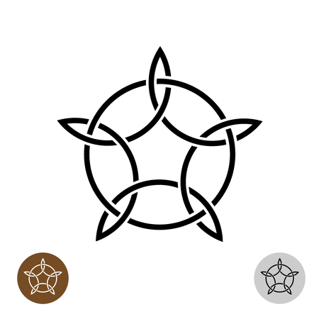 Celtic like style linear star with circle symbol Illustration