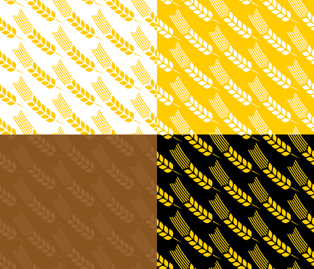 Wheat ears seamless pattern on different backgrounds. Swatches included.