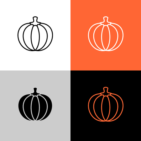 Pumpkin thin linear simple icon. Adjustable line.