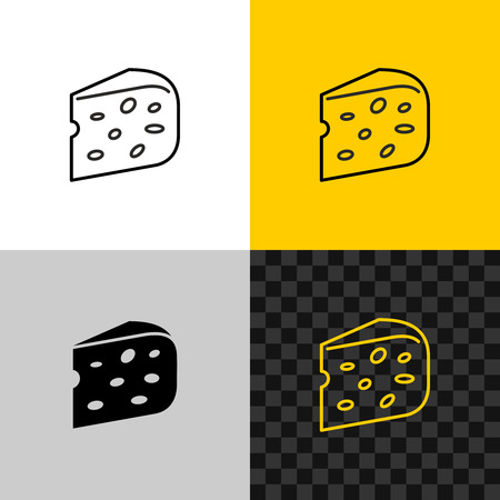 Cheese icon. Piece of semi hard cheese head.