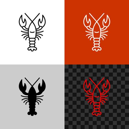Icône de homard. Homard de ligne simple ou écrevisses.