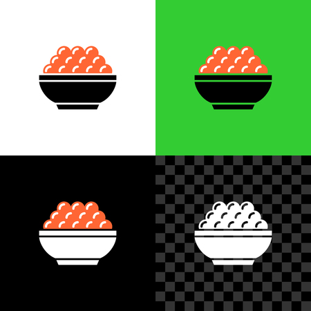 Red caviar serving in a small bowl simple icon Illustration