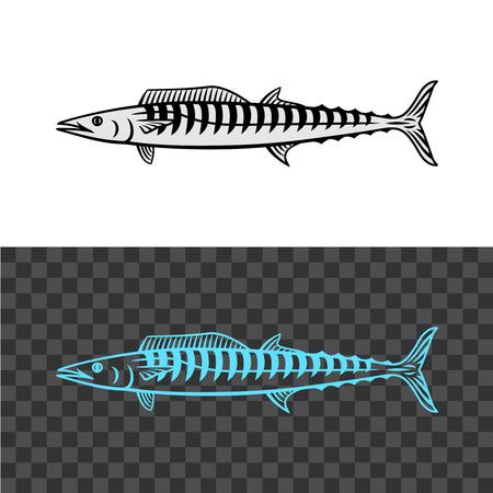 illustration de poisson. Signe noir de maquereau royal.