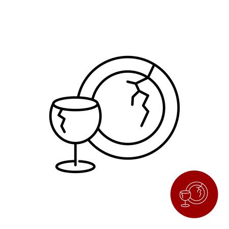 Icono de platos de vidrio roto. Copa de vino y plato.