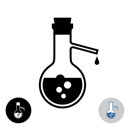 Distillation flask icon. Chemistry lab round flask