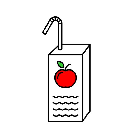 Juice box with red apple and straw line style illustration. Adjustable stroke.