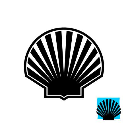 Sea shell black silhouette sign. Scallop