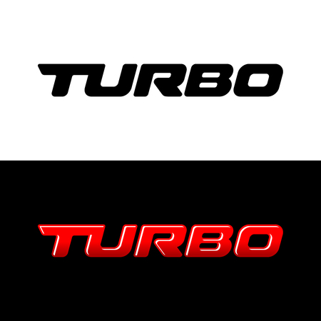 Turbo word  Sport car decal with text Turbo.