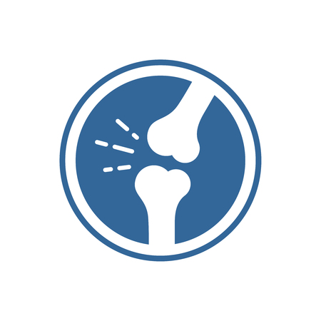 Bones and joints icon. Symbol of knee or elbow with pain sound lines. Ilustracja