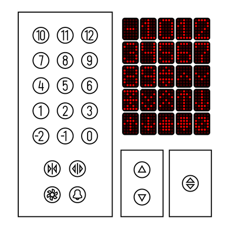 Elevator buttons icon set. Elements of elevator interior interface in a thin line style.